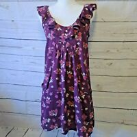 Anthropologie Pins & Needles Sleeveless Dress Small Purple Floral Pockets