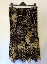 JAEGER BLACK & CAMEL PRINT SILK TIERED CALF LENGTH SKIRT SIZE 12