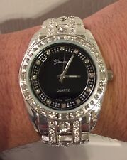 Mens Iced Out Bling Hip Hop CZ Crystal Platinum Silver Metal Geneva Watch Y41SB