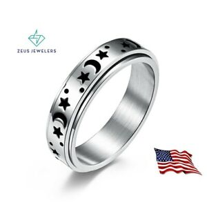 Stainless Steel Moon and Star Anxiety Spinner Ring 6mm for Men Woman Fidget Ring