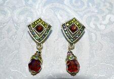 Drop A/B Crystal Earrings Pierced Omega New $80 Heidi Daus Divinely Deco