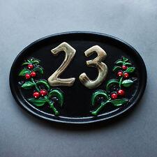 Personalised Cast House Number Sign Black Antique Vintage Door Plaque Plate NS03