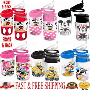 Brand New Disney Water Bottle Mickey Minnie Goofy Donald Pluto Flip Top Original