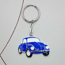 Blue car beetle enamel keyring