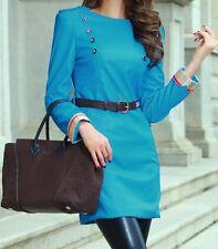 Blue Stylish Faux Leather Fashion Dress size 8