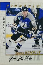 1998 Pinnacle Be A Player Card #147 Roman Hamrlik Signed On Card Autographed