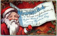 ~SANTA CLAUS WITH HAPPINESS BANK CHECK ~Antique Christmas Postcard-k663