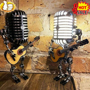 Vintage Metal Microphone Robot Desk Lamp - Get Free Light!! NEW