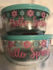 New listing LOT of 2 Pyrex 4 Cup Bowl Turquoise Lid Easter Hello Spring LIMITED EDITION 2019