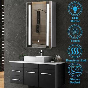 LED Bathroom Mirror Cabinet Cupboard with Shaver Socket Demister Touch Sensor UK