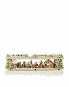 Schwibbogen Sockel Unterbau Weihnachtsmann mit Schlitten LED Lichterhaus Holz