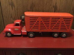 Vintage Tonka Toys Livestock Tractor Trailer Semi 1950's In Great Original Cond.