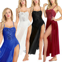 Women Modern Dance Lyrical Ballet Costume Dancewear Dress Split Mesh Maxi Skirt