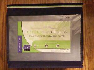 """Sheex Ecosheex Twin Grey Sheet Set Viscose Bamboo Sheets Deep 14"""" Fit #159"""