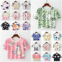 Harajuku Women Girl's Short Sleeve T-Shirts Summer Casual Cropped Tops Blouse