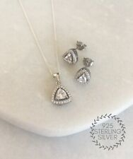 925 Sterling Silver Halo Solitaire Cubic Zirconia CZ Necklace & Earring Set