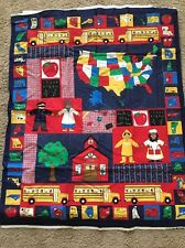 """NEW """"SCHOOL"""" PANEL to Make a Wall Hanging/Sm. Quilt/Nap Mat 1 Yd. x 44"""""""