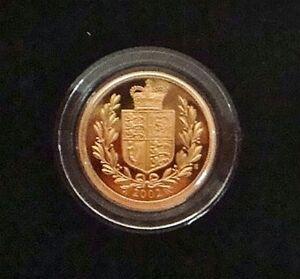 2002 Queen Elizabeth II Proof Gold Shield Reverse Half Sovereign + Cased / COA