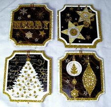Pooch & Sweetheart 24 Glitter Gift Tags Black Gold Christmas 84780 Punch Studio