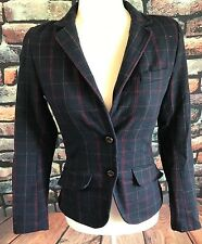 H&M L.O.G.G Women's Size 2 Lined Wool Blazer with Elbow Patches Navy Red Plaid
