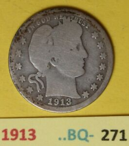1913  US Barber Quarters in Good condition...see Photos