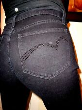NYDJ Not Your Daughter High Rise Boot Black Rhinestone Stretch Jeans! 10 x 32.5