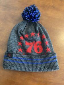 Mitchell Ness Philadelphia 76ers Grey Pom Beanie One Size Brand New Embid Philly