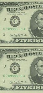 1977A 5$ 4 CONSECUTIVE FIRST 2 MISSING DIGIT INSUFFICIENT INK UNC 9918A