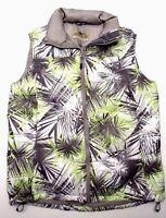 Cabela's Men's Neon Green Gray Black Geometric Goose Down Puffer Jacket Vest S