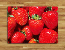 Work top saver,Glass Chopping board 40 x 30 fruit strawberry strawberries design
