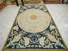 6' X 9' Aubusson Victorian Floral Rug Hand-woven Medallion Beige Black Gold Wool