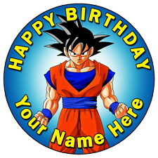 "DRAGON BALL Z - GOKU PARTY 7.5"" PERSONALISED ROUND EDIBLE ICING CAKE TOPPER (1)"