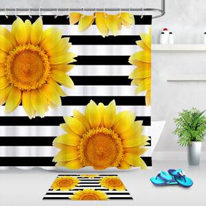 Spring Yellow Sunflowers Black White Stripes Shower Curtain Set Bathroom Decor
