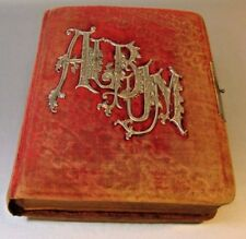 Antique Cabinet Cards Photo Album Victorian red velvet FULL OF CARDS