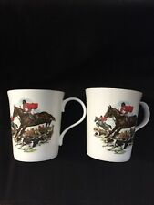 Crown Trent Fine Bone China Tea Cups Mugs Stattfordshire England X 2 Fox Hunting