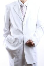 MENS SINGLE BREASTED 3 BUTTON WHITE DRESS SUIT SIZE 46S, PL-60213-WHI