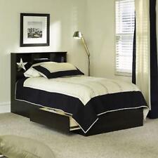Twin Storage Bed With 2 Drawers Bookshelf Headboard Wood Frame Espresso Finish