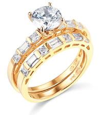 2.35 Ct Round Cut Engagement Wedding Ring Set Real 14K Yellow Gold Matching Band