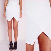 Missguided White Wrap Asymmetric Bodycon Mini Skirt Size 4 UK 0 US