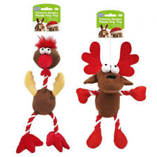 2PC Plush Dog Toys Pet Puppy Chew Toy Gift Set Christmas Xmas Color Themed D4965