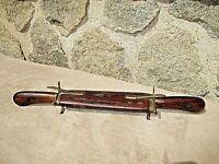 Couteau/fourchette de voyage-fourreau en bois sculpté et laiton-vintage-India
