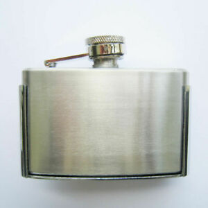 3oz. Stainless Steel Flask Metal Removable Concealed Belt Buckle Alcohol Drinks