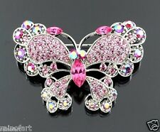 Butterfly Pink Brooch Made With Swarovski Crystal Charming Cute Chic New Pin