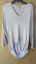 ALICE + OLIVIA Women's Gray Oversized Sheer Dolman Sleeve Cashmere Sweater Sz L
