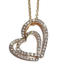 Pendentif deux Coeurs style Faberge décorée par strass Cadeau St Valentin COEURS