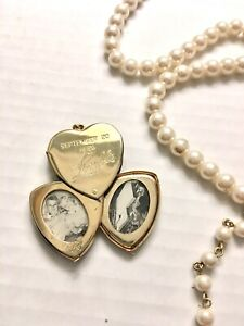 VINTAGE ANTIQUE CORO 4 PICTURE LOCKET With Pearl Necklace GOLD TONE