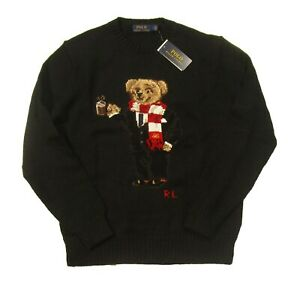Polo Ralph Lauren Men's Black Cocoa Holiday Bear Cotton Linen Pullover Sweater