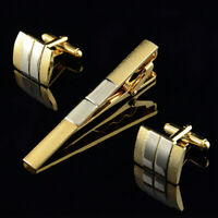 Men's Cufflinks Frosted Silver Gold Plated Tie Bar Clasp Clip Set Business Gift