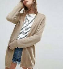 Womens ASOS TAUPE FINE KNIT FLUFFY LONGLINE CARDIGAN size 14 UK 42 Eur NEW