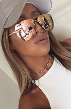 Original Vintage reto sin montura UV400 Rosegold-Diseñador-con Espejo-Mujer Gafas de sol